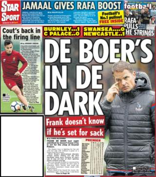 The Daily Star leads on Frank de Boer's future and claims Liverpool will recall Philippe Coutinho in midweek