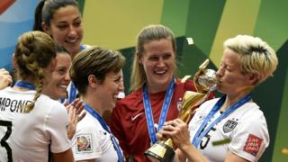 USA team celebrating winning the 2015 Women's World Cup