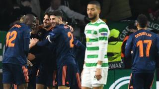Valencia celebrate their second goal