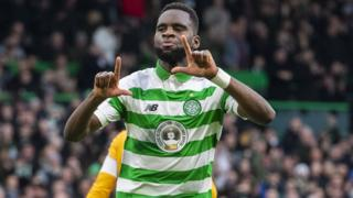 Odsonne Edouard celebrates opening the scoring at Celtic Park