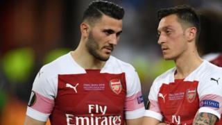 Arsenal's mesut Ozil and Sead Kolasinac