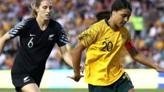 Australia's Sam Kerr and Rebekah Stott of New Zealand