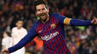 Lionel Messi celebrates scoring against Manchester United