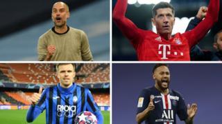 Pep Guardiola, Robert Lewandowski, Josip Ilicic, Neymar
