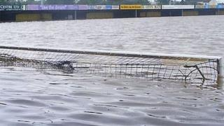 Gloucester City's Meadow Park ground after being flooded in 2007
