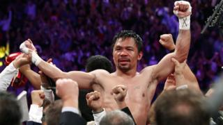 Manny Pacquiao beats Keith Thurman on points in Las Vegas to win the WBA Super welterweight title