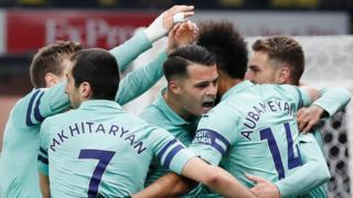 Arsenal celebrate Pierre-Emerick Aubameyang's goal against Watford
