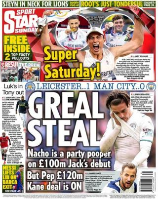 The back page of the Daily Star Sunday