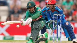 Bangladesh's Mushfiqur plays a sweep shot