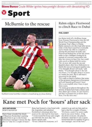 Monday's Independent back page