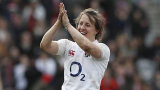 Katy Daley-McLean celebrates after England beat Wales in March
