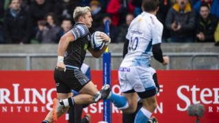 Glasgow Warriors' DTH van der Merwe scores against Sale