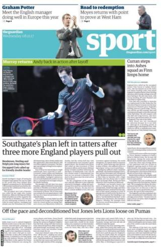 The Guardian back page includes Gareth Southgate's dilemma after three more England players withdraw