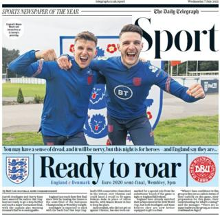 The front page of the Daily Telegraph sports section