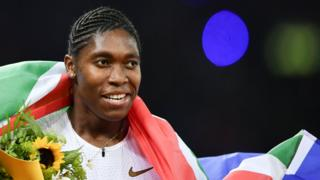 Caster Semenya smiles after winning the women's 800m during the IAAF Diamond League meeting in Zurich