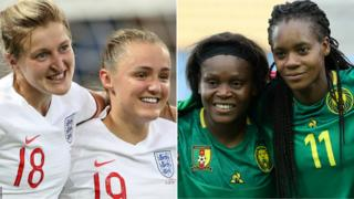 England players celebrate (left) and Cameroon players celebrate (right)