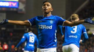 Alfredo Morelos celebrates his first goal for Rangers against Kilmarnock
