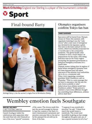 La portada deportiva de The Independent