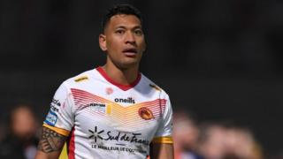 Israel Folau during his debut for Catalan Dragons against Castleford Tigers