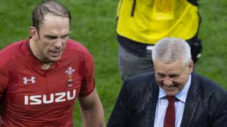 Alun Wyn Jones and Warren Gatland celebrate