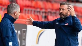 Aberdeen assistant Tony Docherty and manager Derek McInnes
