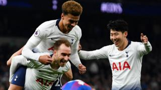 Christian Eriksen, Dele Alli and Son Heung-min celebrate at Tottenham Hotspur Stadium
