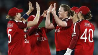 England celebrate a wicket by Anya Shrubsole