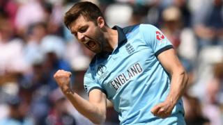 Mark Wood celebrates a wicket