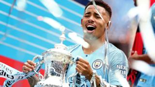 Gabriel Jesus celebrates with the FA Cup after Manchester City's 6-0 win over Watford at Wembley