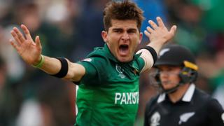 Shaheen Afridi celebrates taking a wicket
