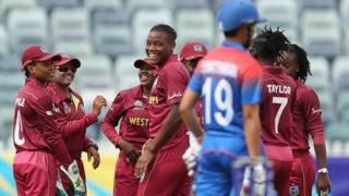West Indies celebrate a wicket by Chinelle Henry