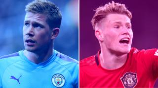 Manchester City's Kevin de Bruyne and Manchester United's Scott McTominay