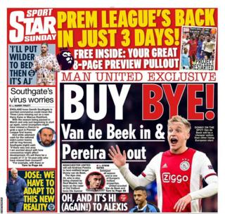 The back page of the Star Sunday
