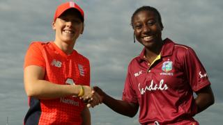 England captain Heather Knight (left) shakes hands with the West Indies captain Stefanie Taylor