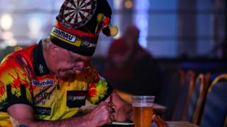 A fan at the BDO world darts tournament