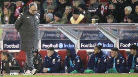 Marcelo Bielsa walks the touchline at the City Ground