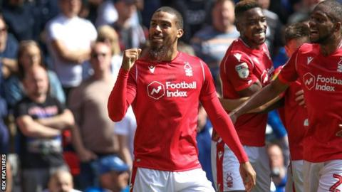 Nottingham Forest's Lewis Grabban celebrates his first-half goal against Birmingham