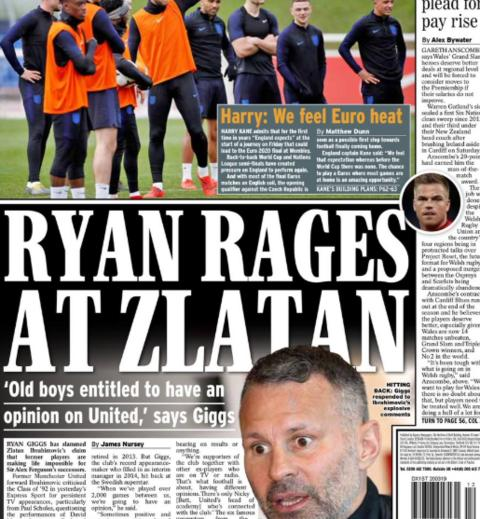 The Daily Express lead on Wales manager Ryan Giggs responding to comments from Zlatan Ibrahimovic