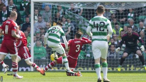 Patrick Roberts scores for Celtic against Aberdeen