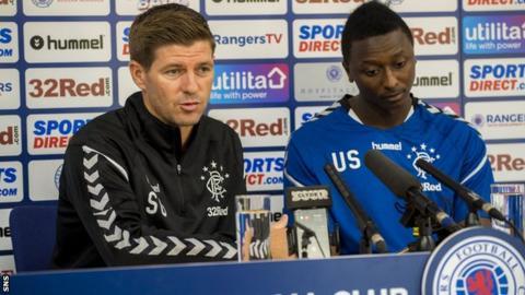 Rangers manager Steven Gerrard and new signing Umar Sadiq