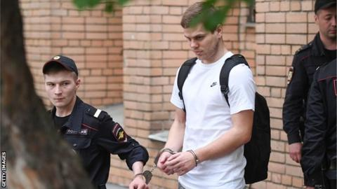 Aleksandr Kokorin is led away after the court case in Moscow