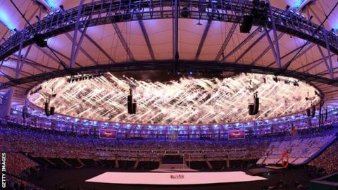 General view of the opening ceremony of the 2016 Rio Paralympic Games