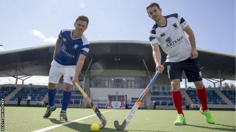 Alan Forsyth (left) and Chris Grassick at the Glasgow National Hockey Centre