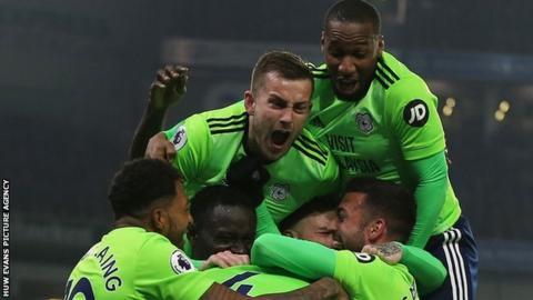 Cardiff City celebrate a goal against Brighton