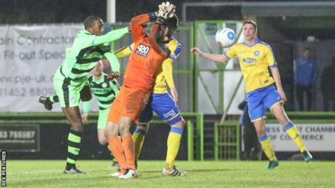 Torquay felt goalkeeper Brendan Moore was fouled during Forest Green's equaliser