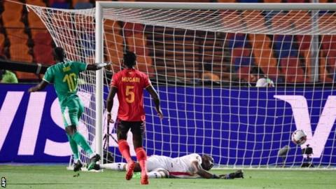 Sadio Mane scores for Senegal against Uganda at the Africa Cup of Nations