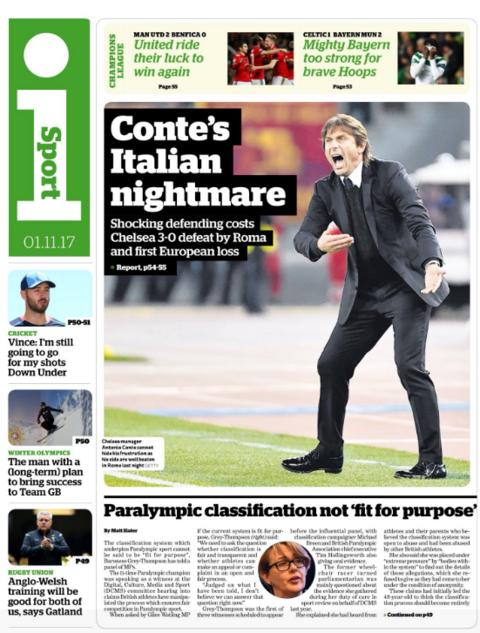The i's sport section on wednesday