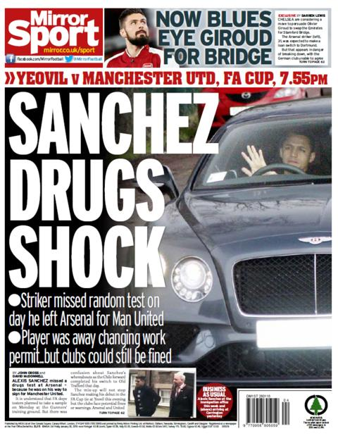 The Daily Mirror's back page on friday