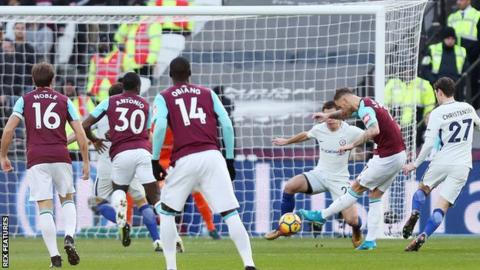 West Ham striker Marko Arnautovic scores the only goal of the game against Chelsea