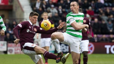 Hearts' Ross Callachan contests the ball with Celtic's Scott Brown